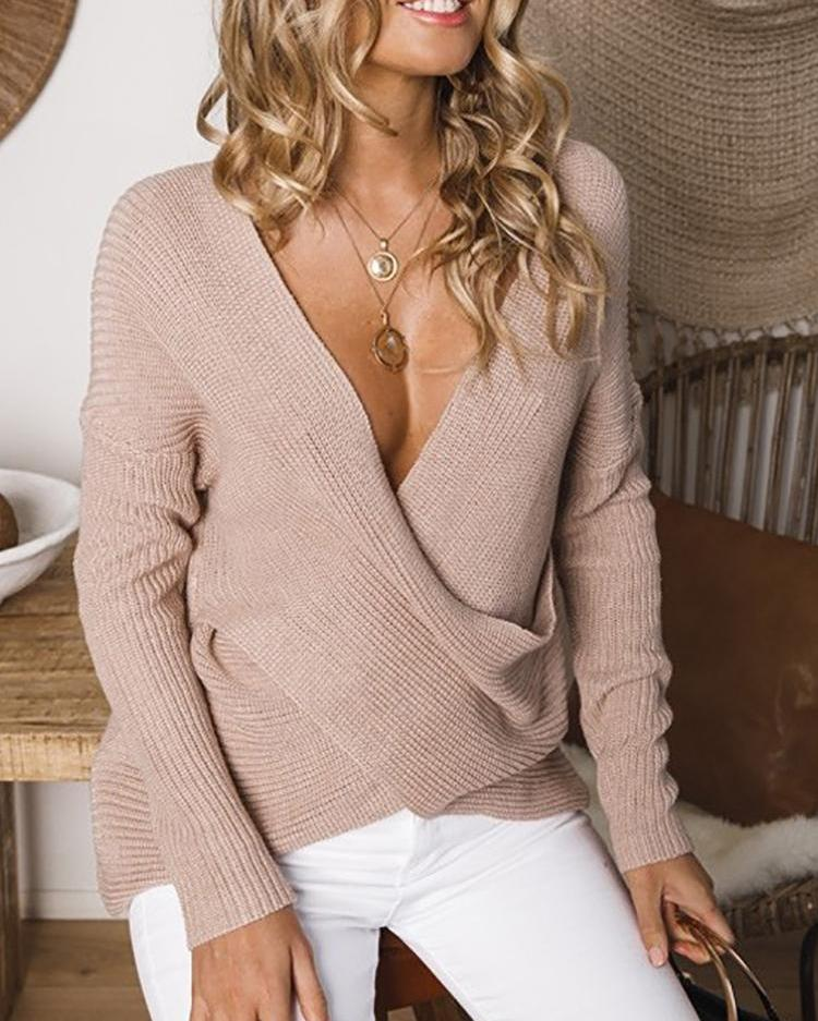 Deep V-Neck Crisscross Front Top
