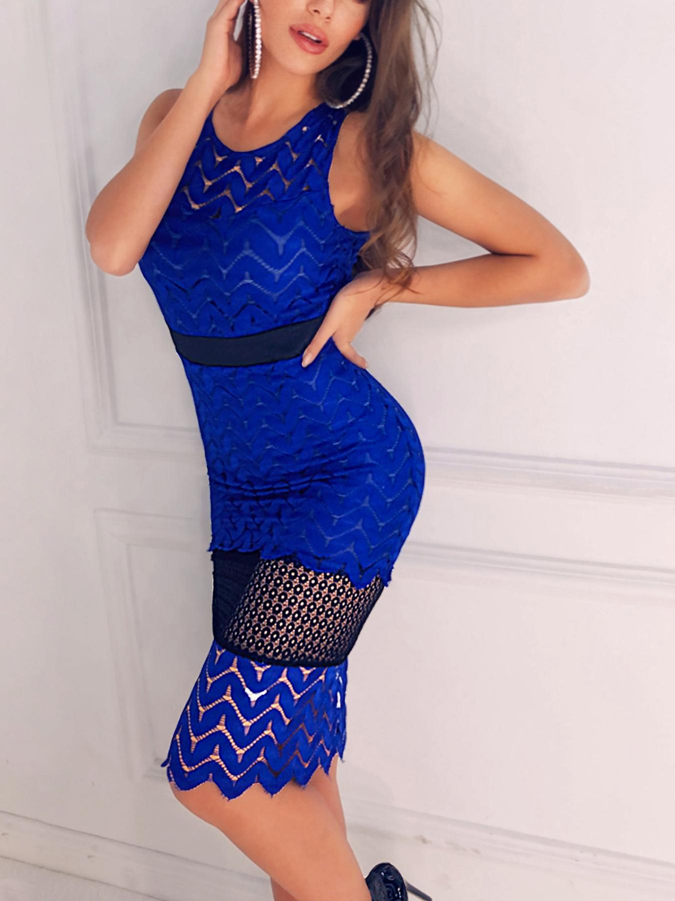 Hollow Out Lace Insert Bodycon Dress