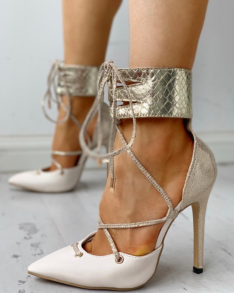 ivrose / Ankle Pointed Toe Tied Design salto fino