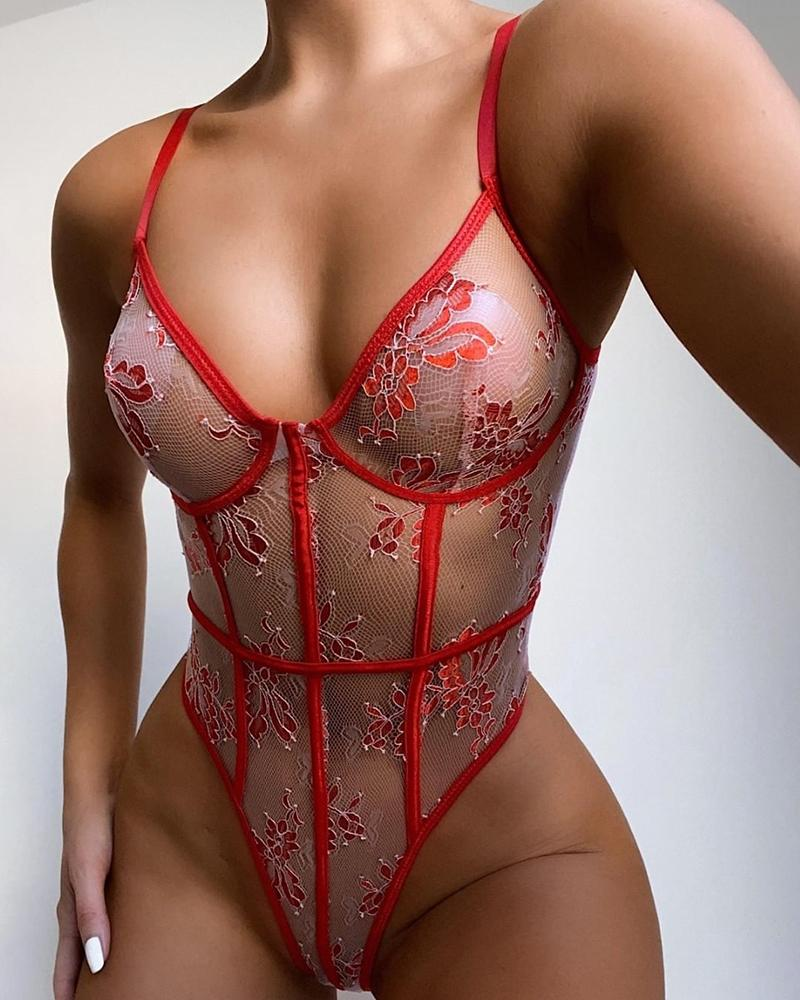 Floral Embroidery Sheer Mesh Contrast Binding Teddy фото