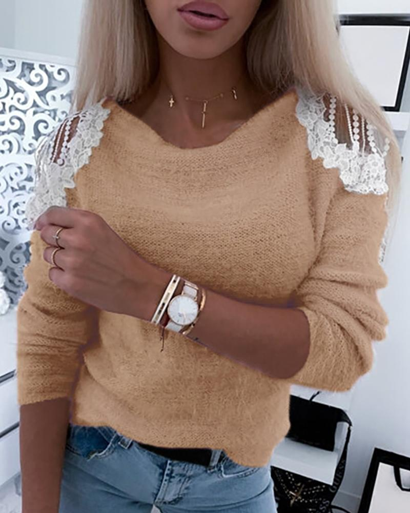Crochet Lace Hollow-out Shoulder Sweater фото