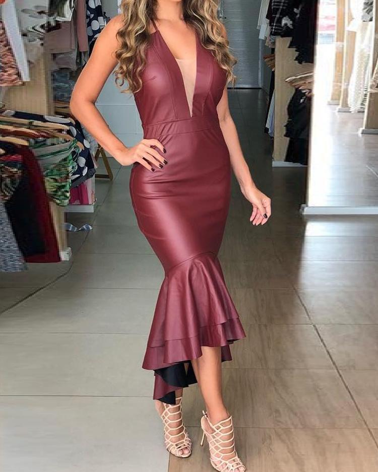 Sexy Deep V Backless Ruffles Layered Fishtail Dress