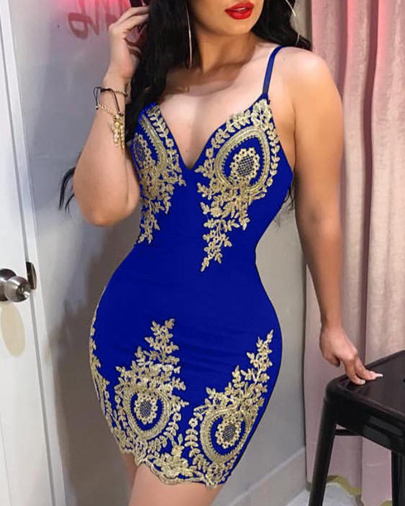 Spaghetti Strap Lace Applique Bodycon Dress