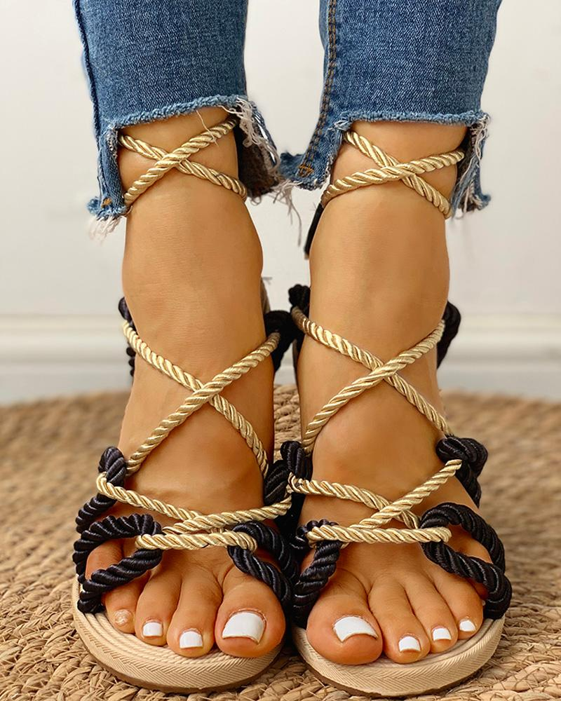 Rope Design Lace-Up Knotted Flat Sandals фото
