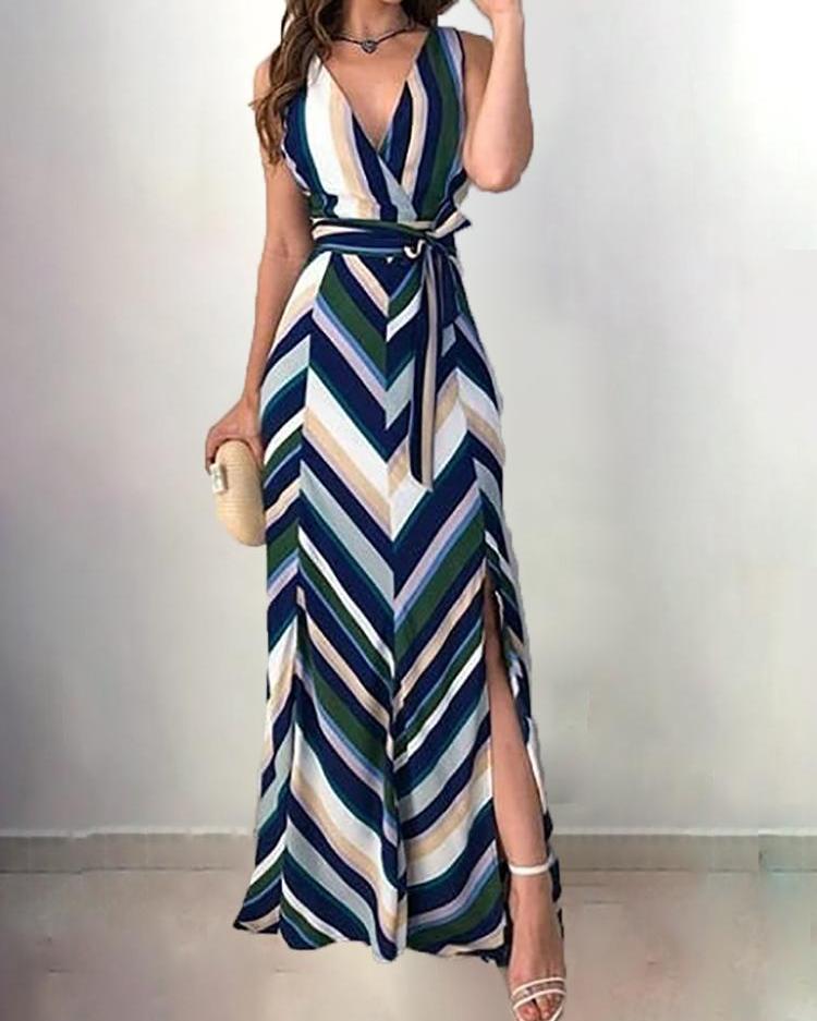 Chevron Stripes Backless Belted Slit Maxi Dress
