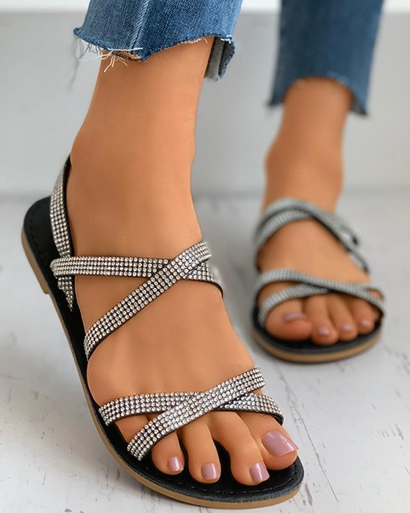 Studded Bandage Slingback Flat Sandals фото