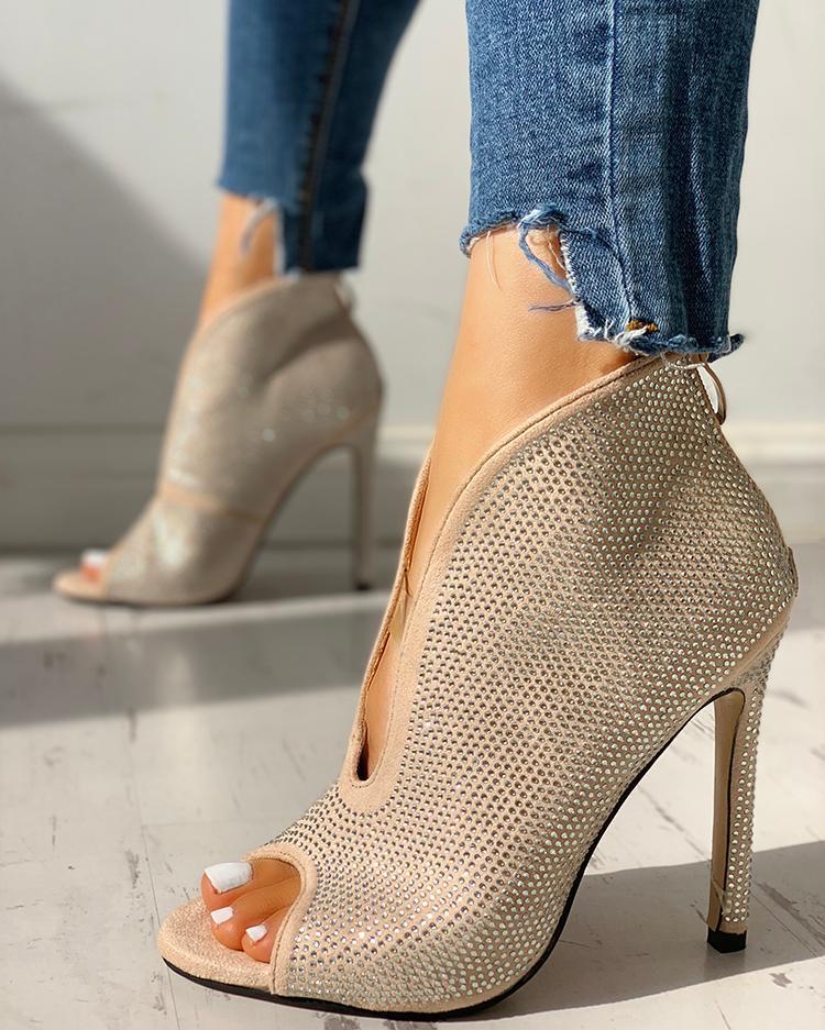 Studded Detail Peep Toe Thin Heels