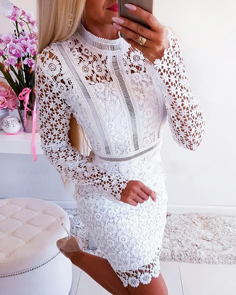 Hollow Out Floral Lace Bodycon Dress