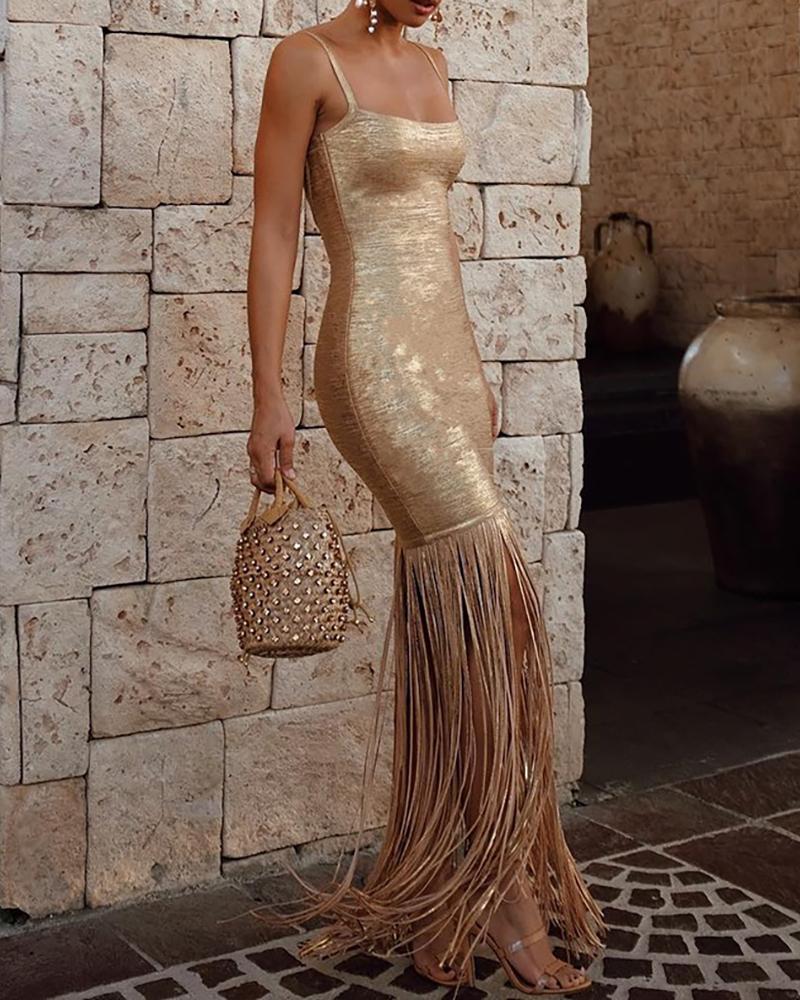 boutiquefeel / Vestido de diseño de borla con correa fina y purpurina
