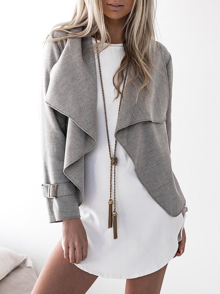 Stylish Solid Casual Cardigan Coat - Gray