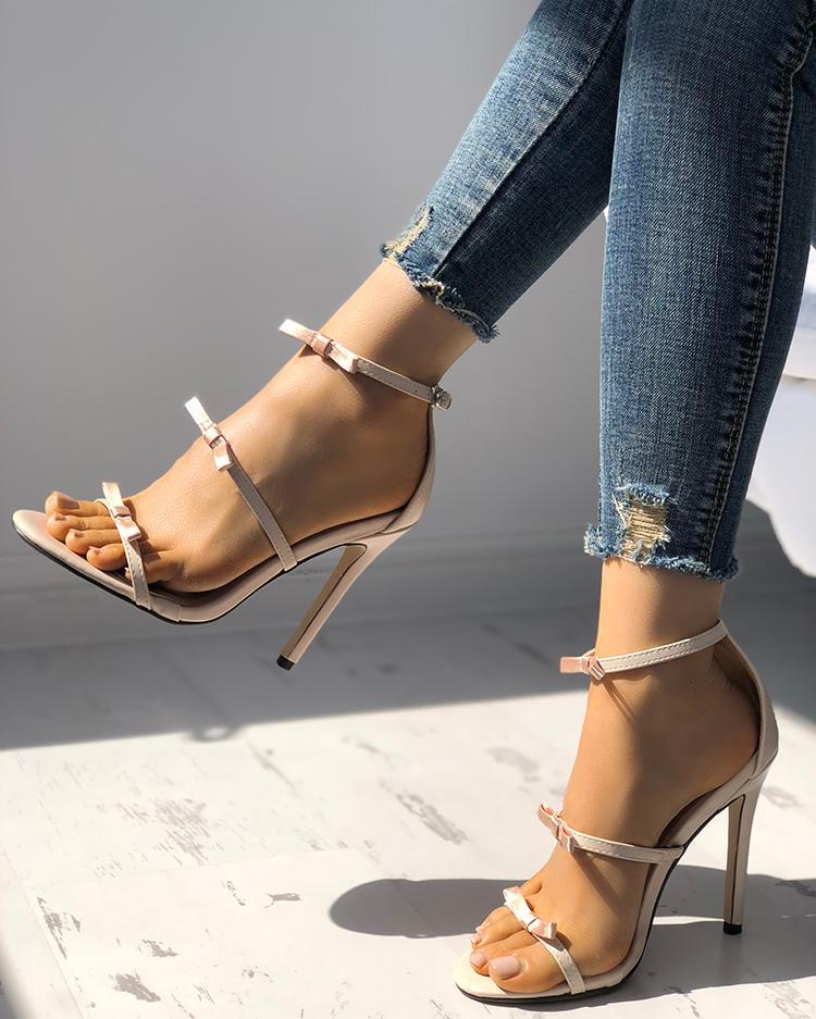 joyshoetique / Elegant Bow Tie Ankle Strap Stiletto Sandals