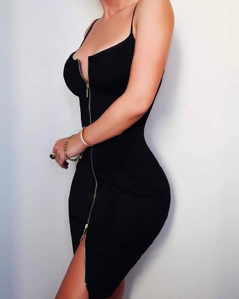 Spaghetti Strap Zipper Design Slit Bodycon Dress