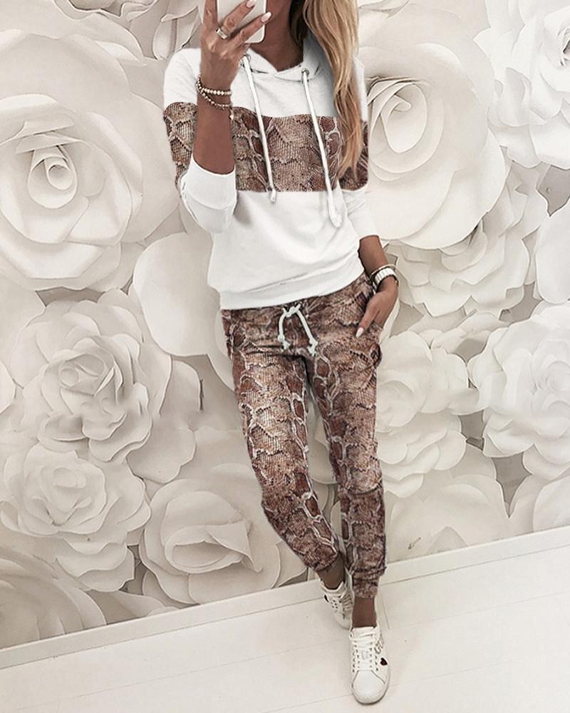 boutiquefeel / Conjuntos de sudadera y pantalones con capucha de piel de serpiente