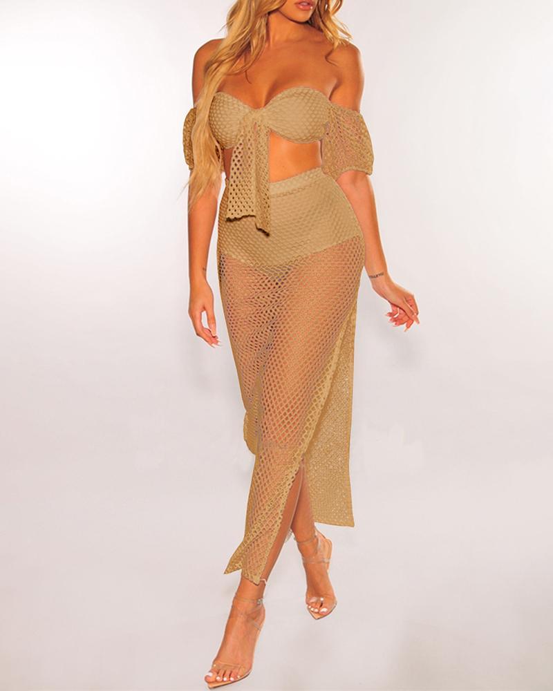 boutiquefeel / Sheer fora do ombro Fishnet Crop Top & Skirt Sets