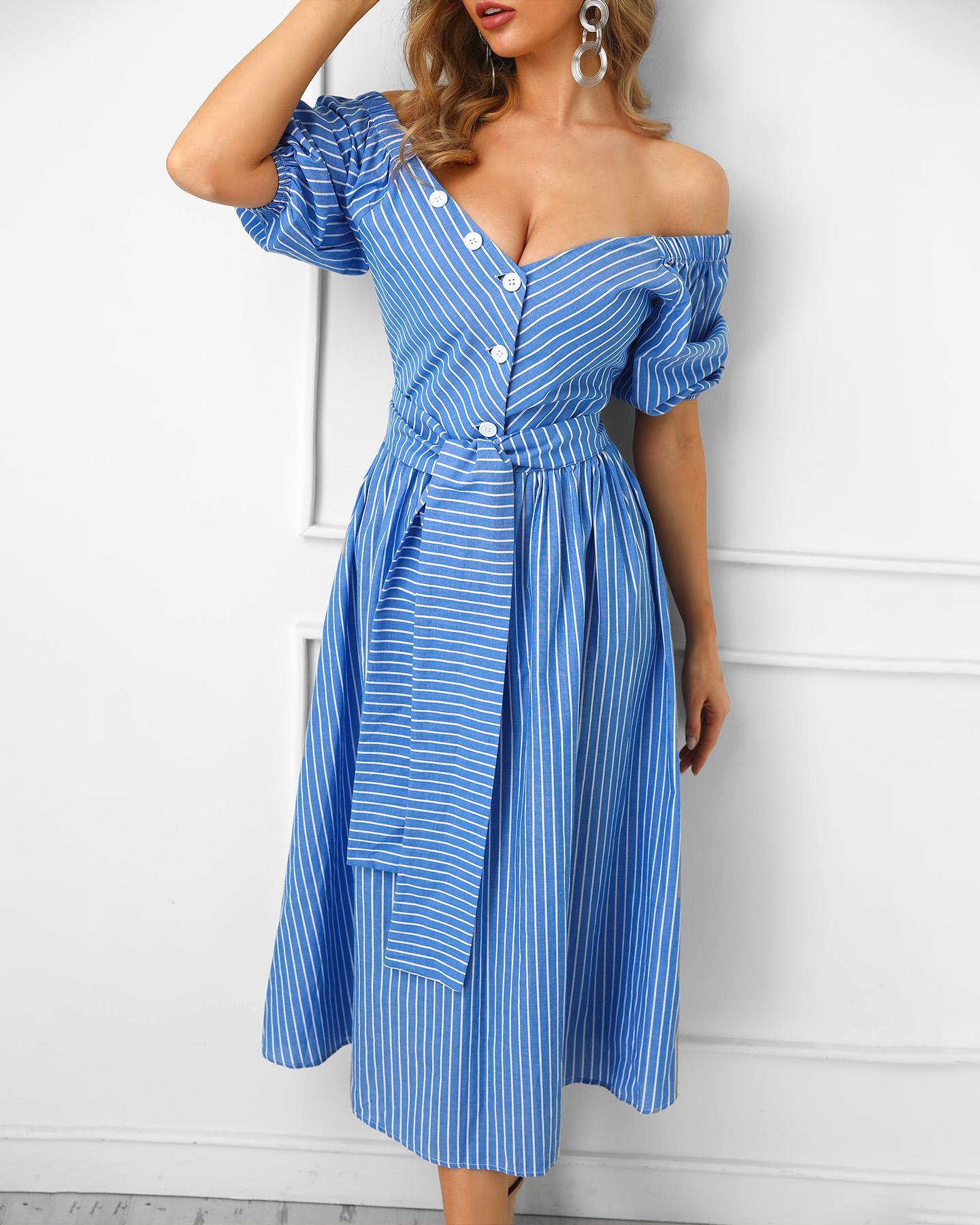 Off Shoulder Striped Lantern Sleeve Casual Dress фото