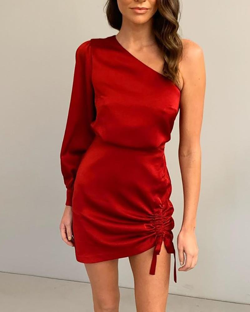 One Shoulder Drawstring Bodycon Dress