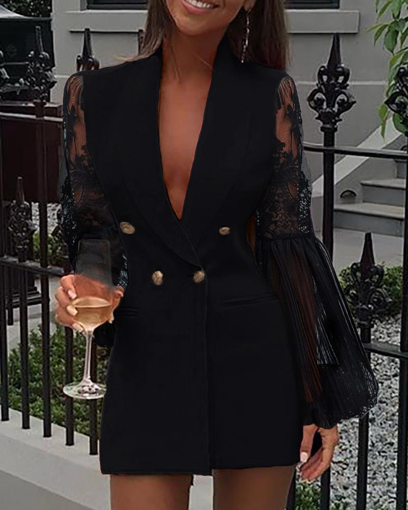 chicme / Crochet Lace Sheer Mesh Double Breasted Blazer Dress