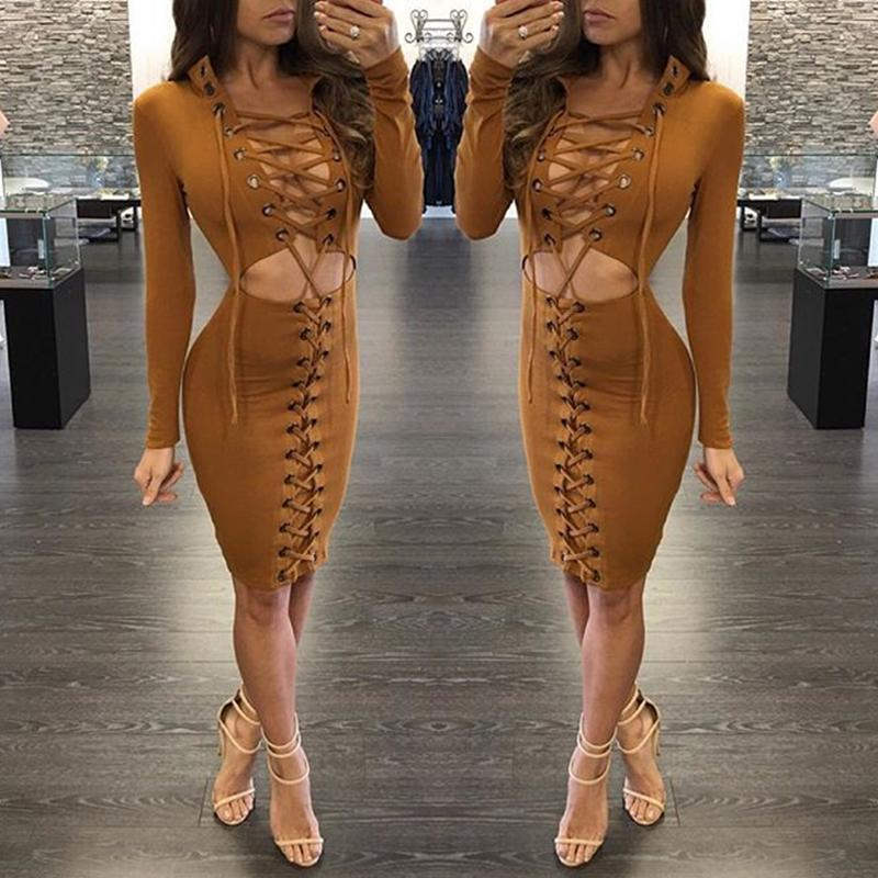 Sexy Lace Up Cut Out Sheath Plunge Bodycon Dress