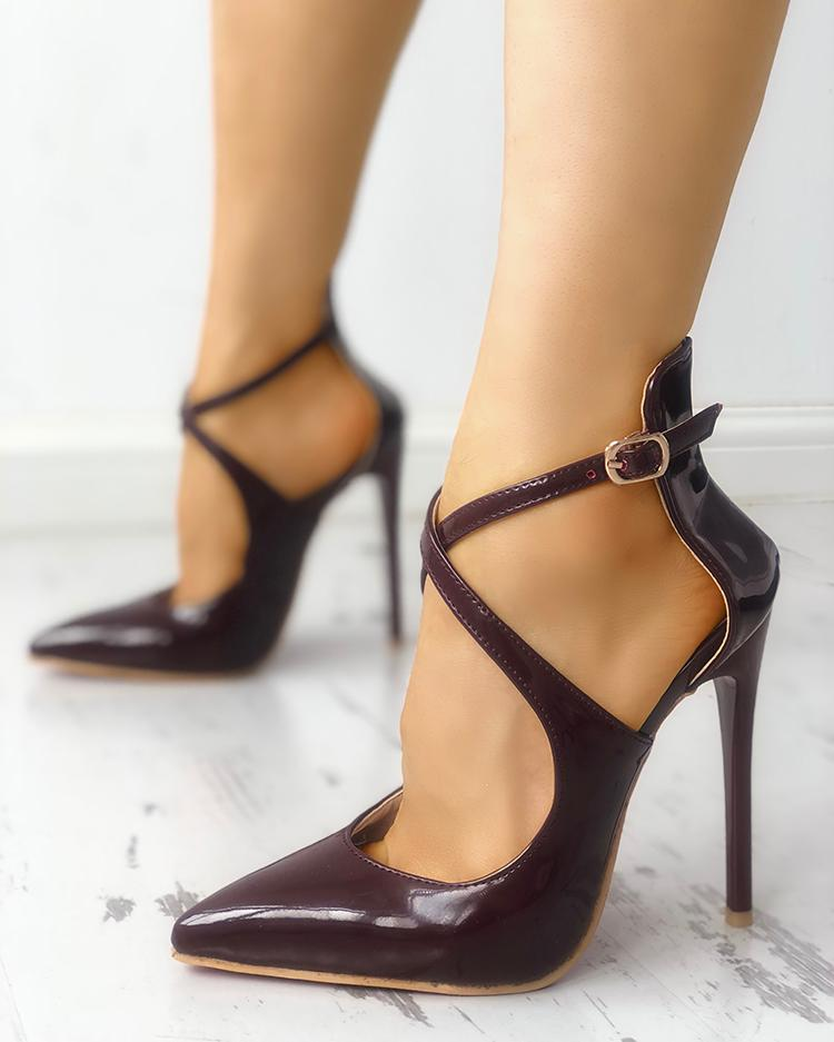 chicme / Solid Crisscross Buckled Pointed Toe Heels