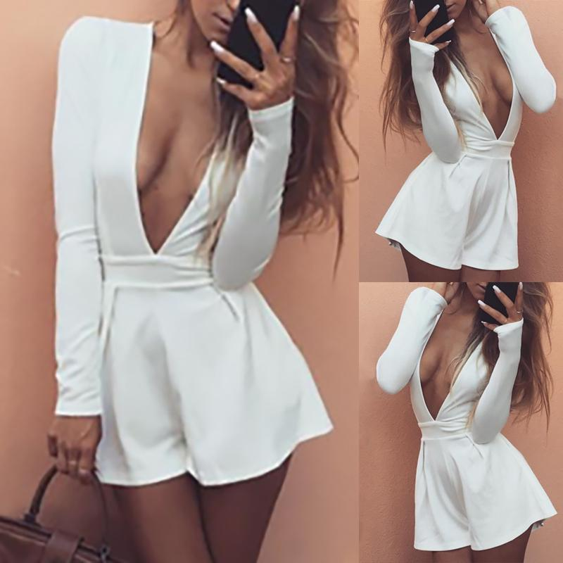 Sexy Deep V Neck Long Sleeve Casual Romper