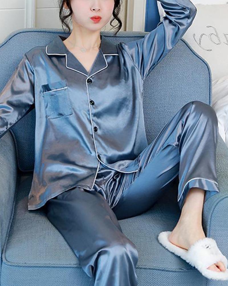 Satin Contrast Seam Pajama Set фото