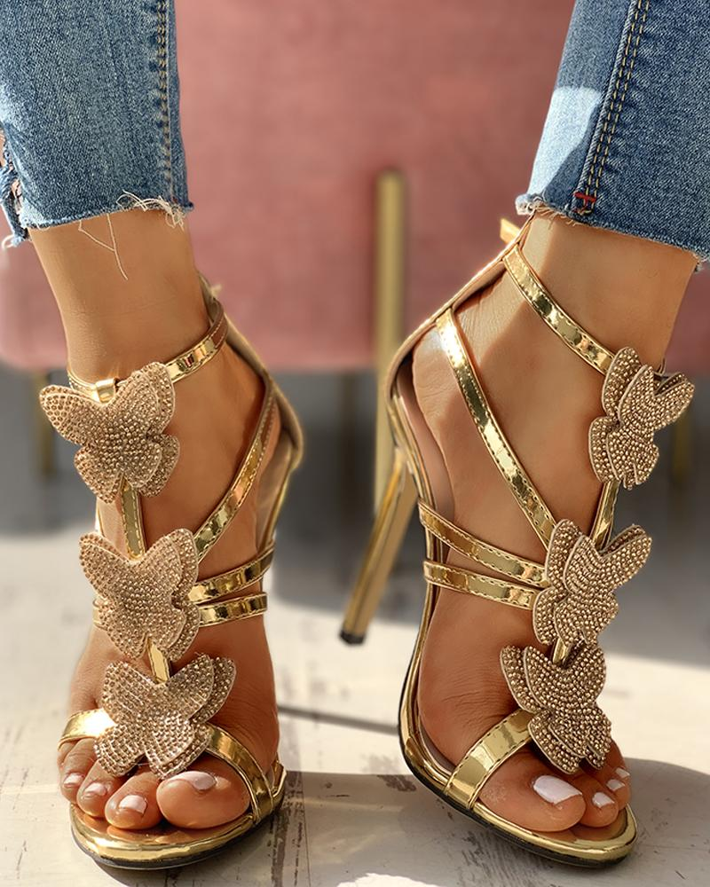 Butterfly Studded Strap Buckled Thin Heels, Gold