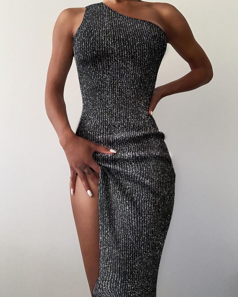 High Slit Glitter Knit One Shoulder Maxi Dress фото