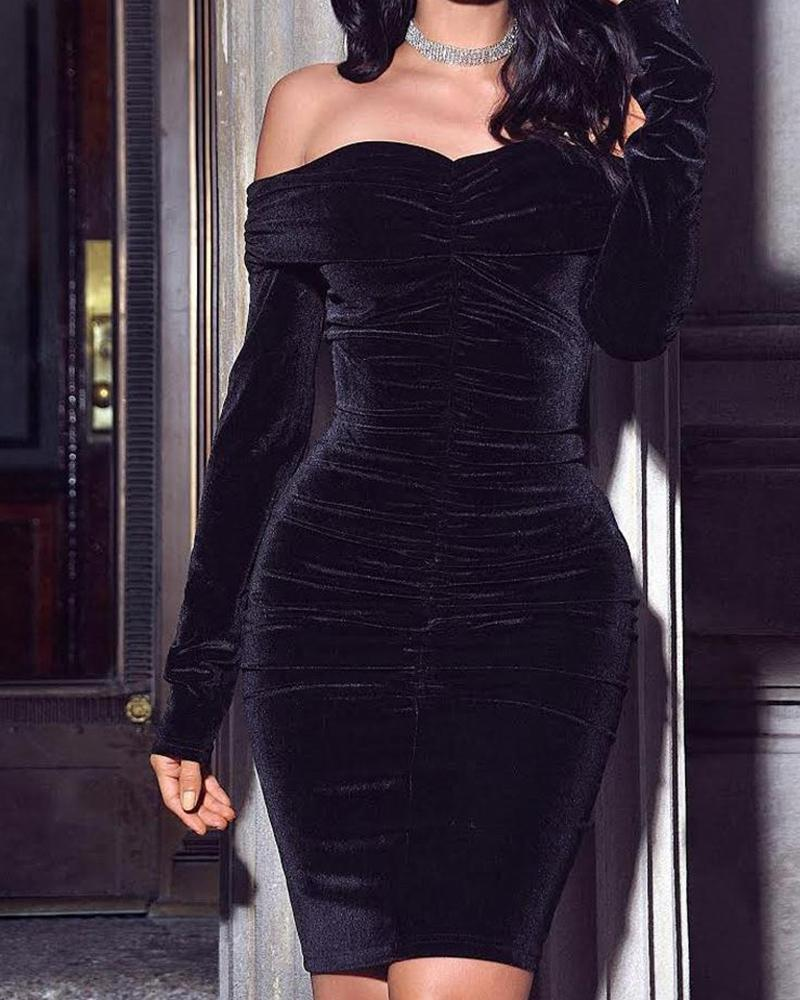 Off Shoulder Long Sleeve Bodycon Velvet Dress фото