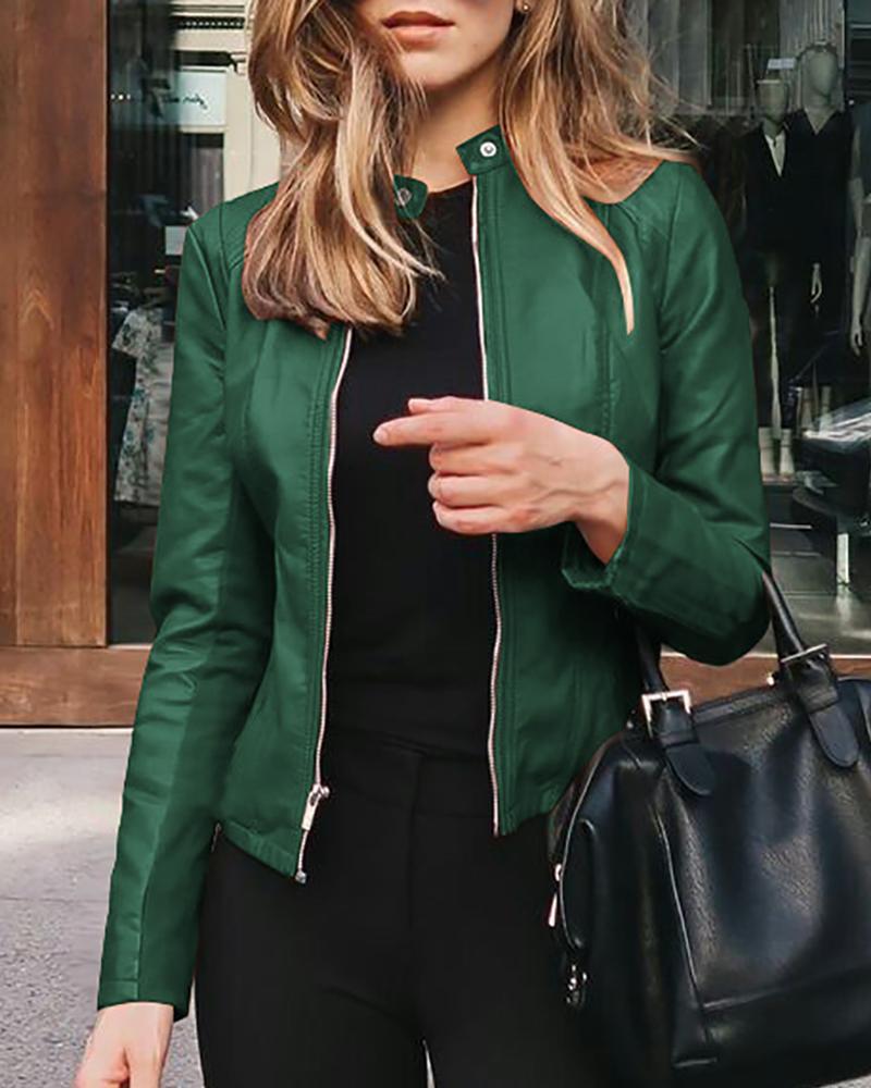 chicme / Faux Leather Zipper Design Coat