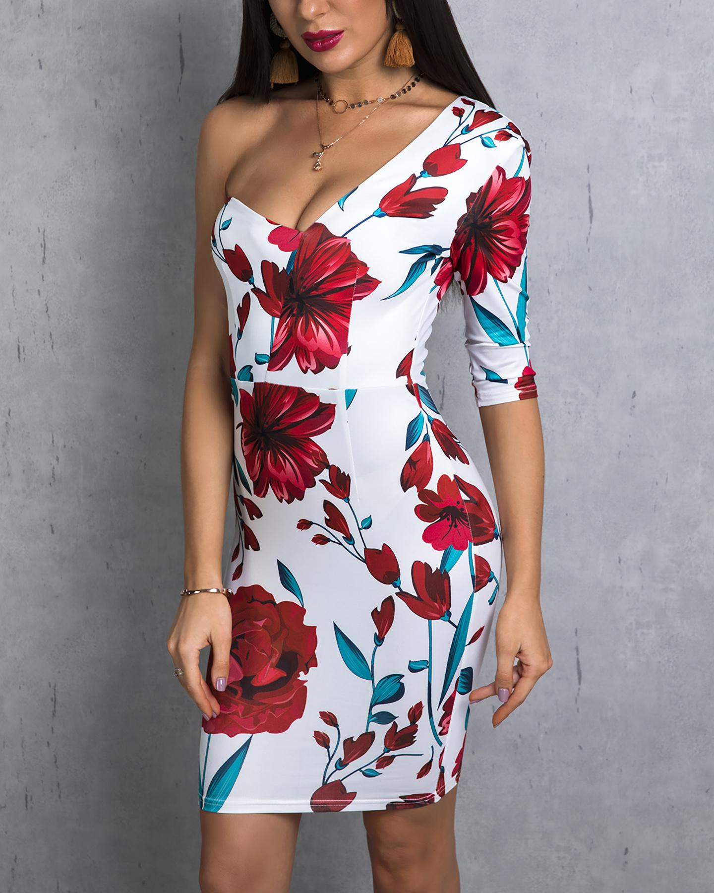 chicme / One Shoulder Floral Print Bodycon Dress