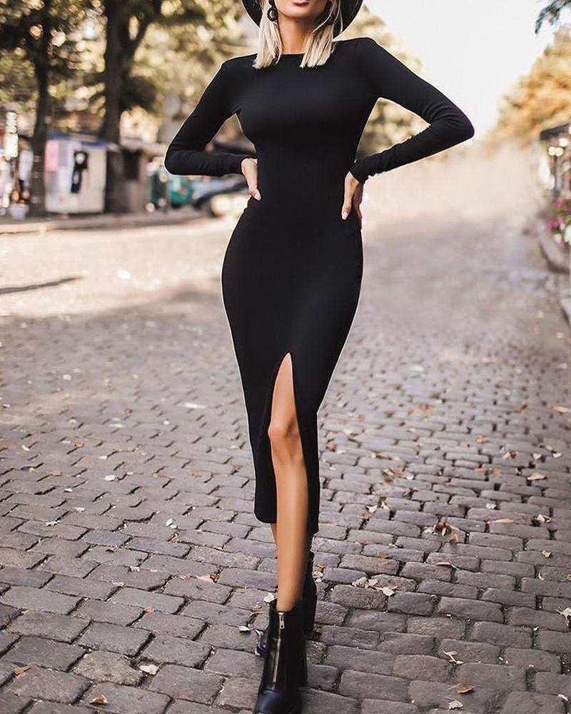 Solid Bodycon Slit Front Dress фото