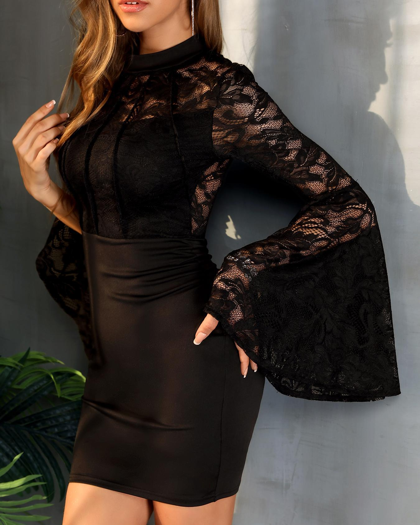 Bell Sleeve Lace Bodice Bodycon Dress фото