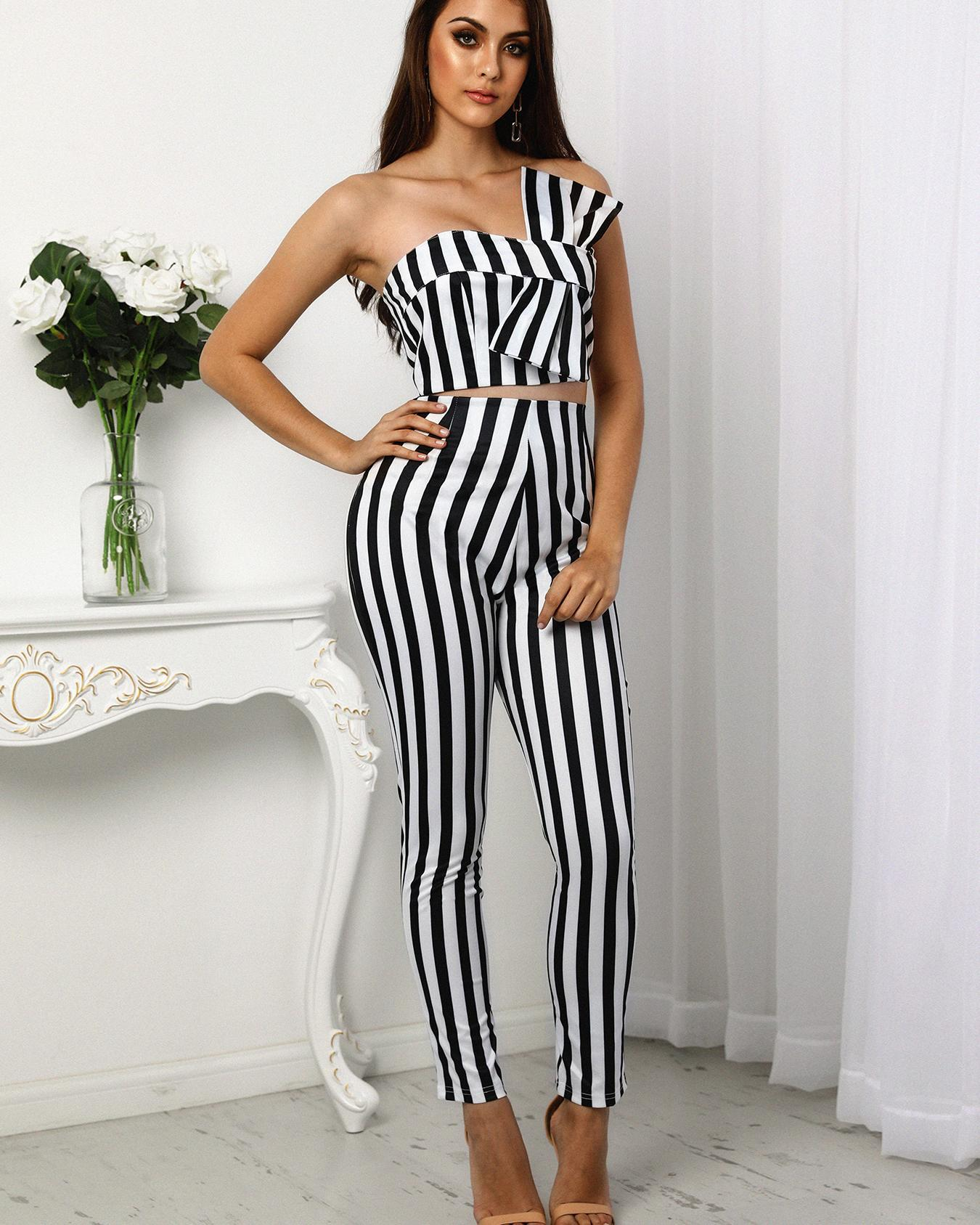 Striped Sweetheart Bow Cropped Top&Pants Set фото