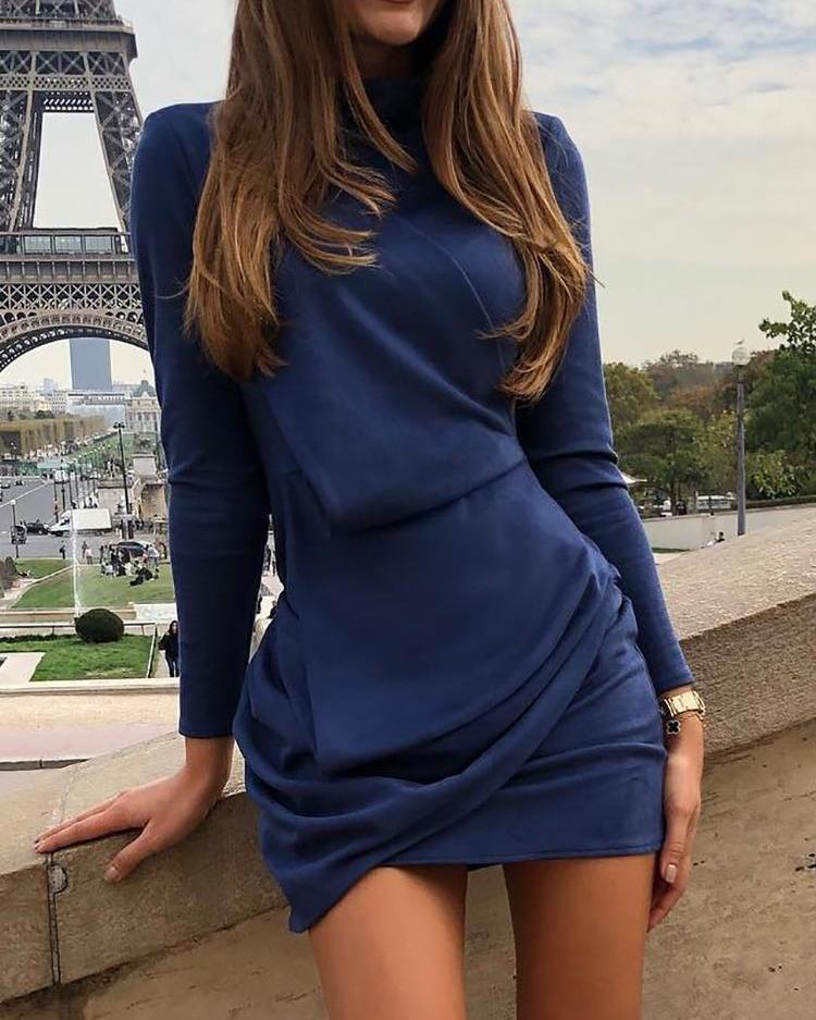 Long Sleeve Ruched Design Bodycon Dress фото