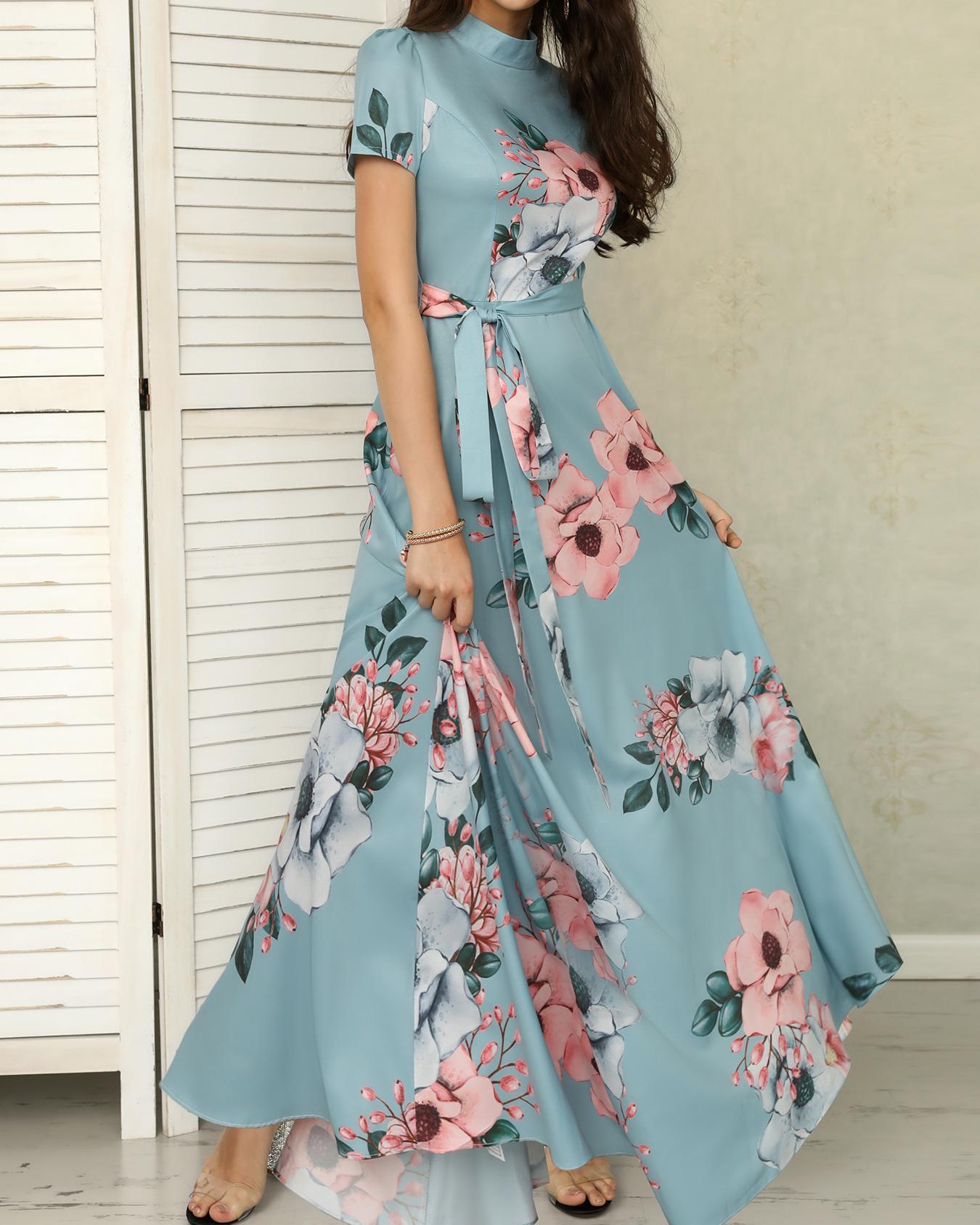 ivrose / Vestido maxi cintura estampada con estampado floral