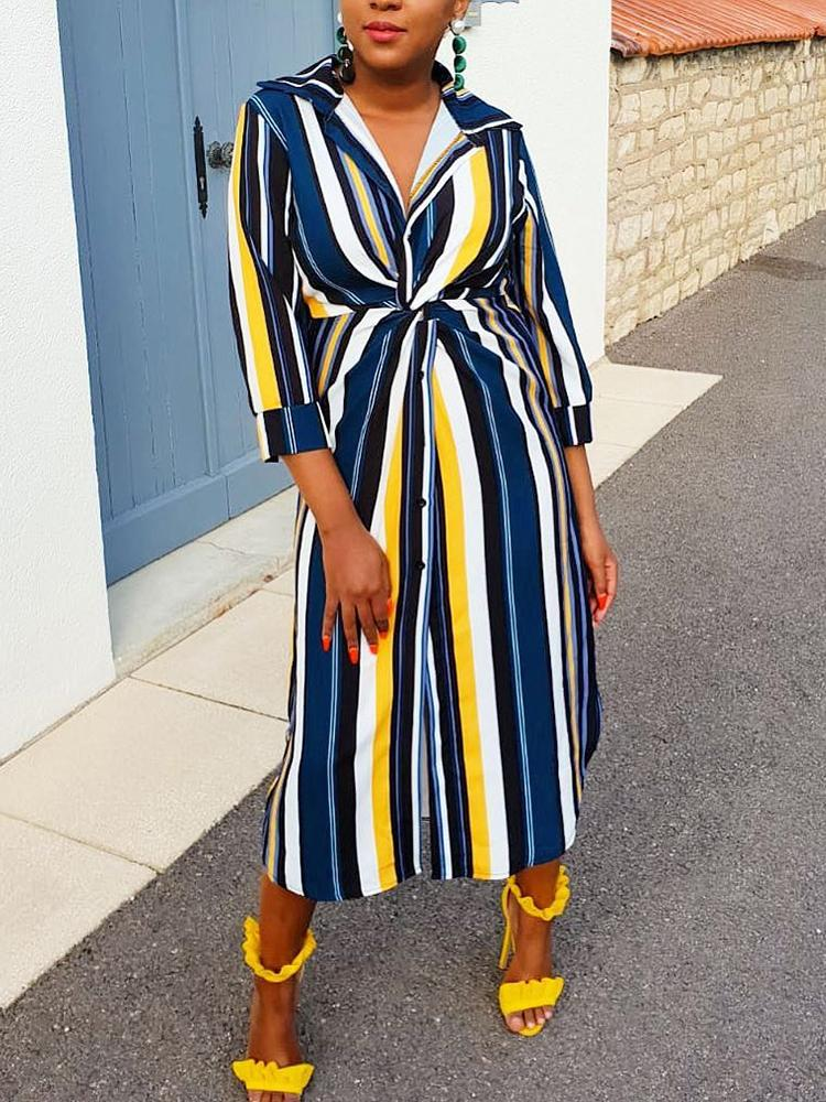Colorful Striped Twisted Front Shirt Dress
