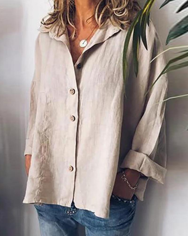 Cotton and Linen Bat Sleeves Solid Color Casual Shirt фото