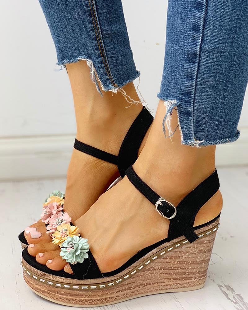 chicme / Suede Flower Embellished Platform Wedge Sandals