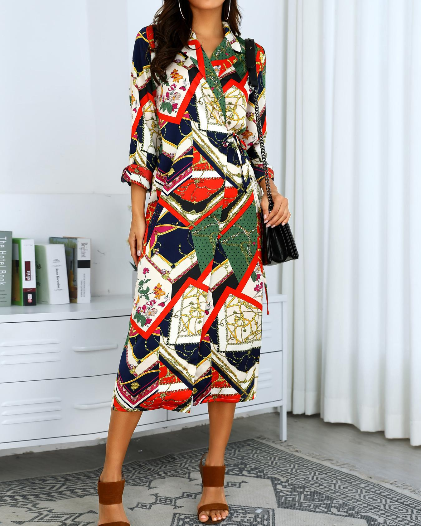 Mixed Print Long Sleeve Shirt Dress, Multicolor