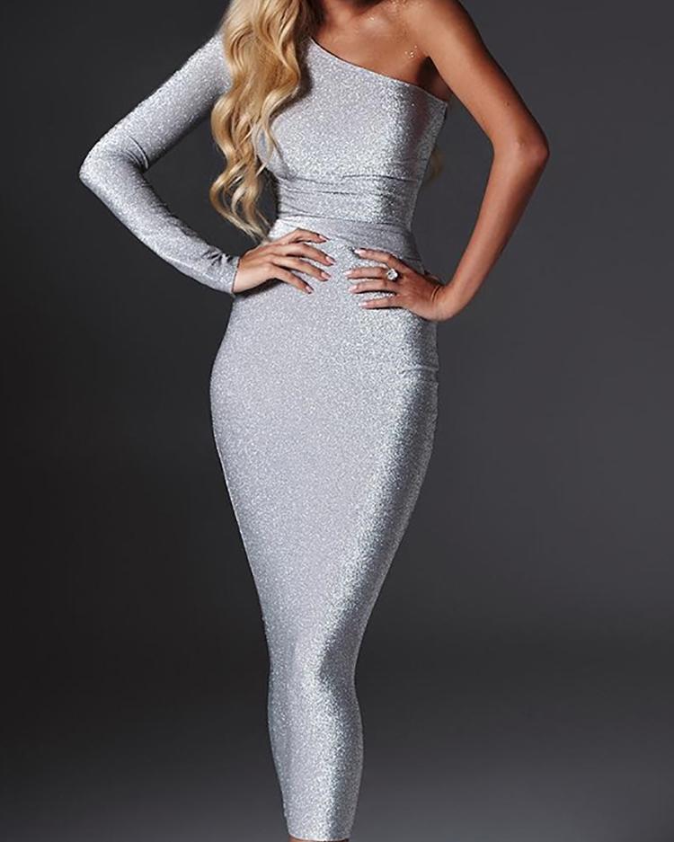 Shiny One Sleeve Slinky Party Dress, Silver