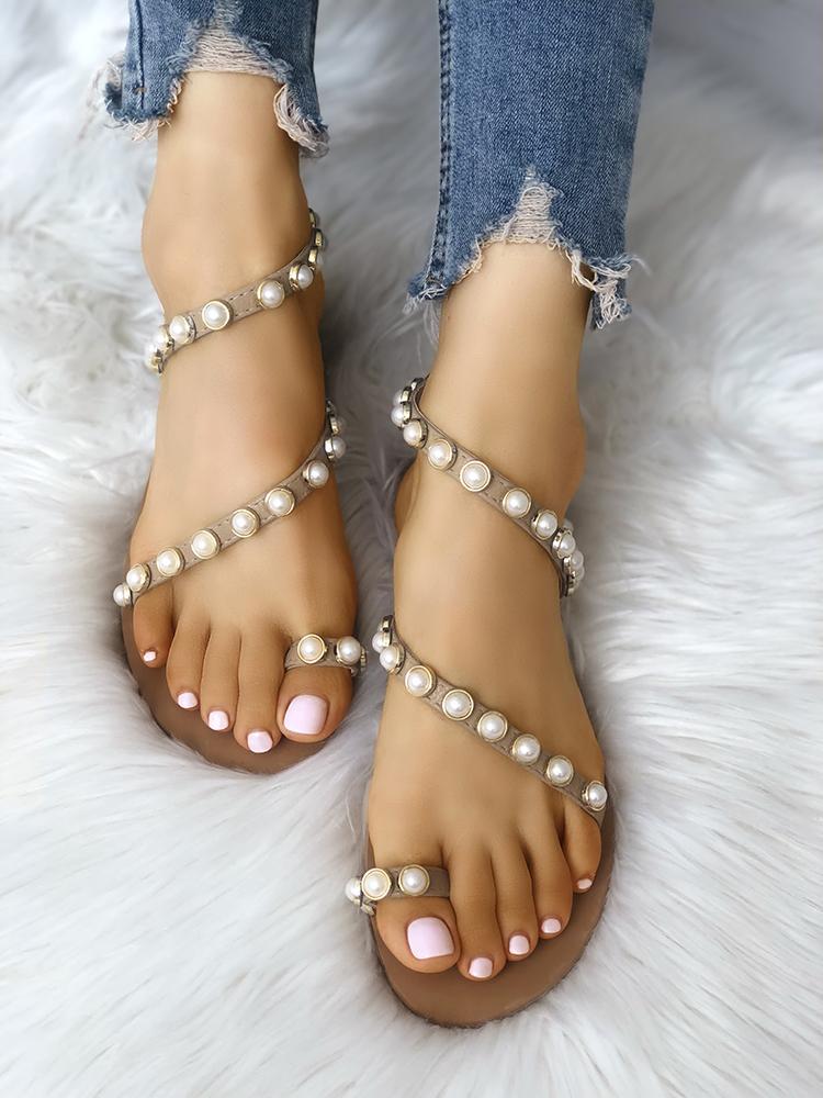 joyshoetique / Beading Decorated Toe Ring Flat Sandals