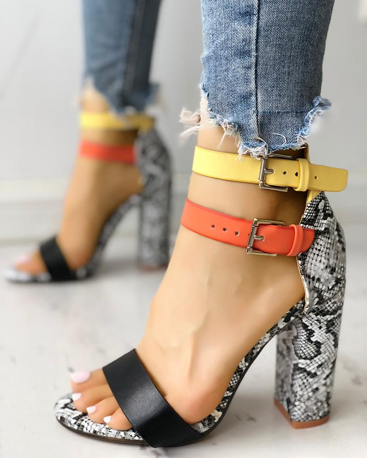 Contrast Color Snakeskin Buckled Chunky Heeled Sandals
