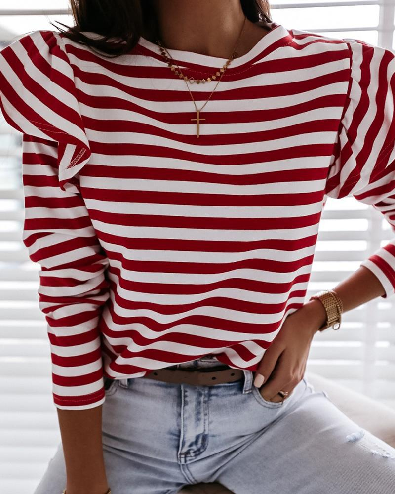 Striped Long Sleeve Casual Top фото