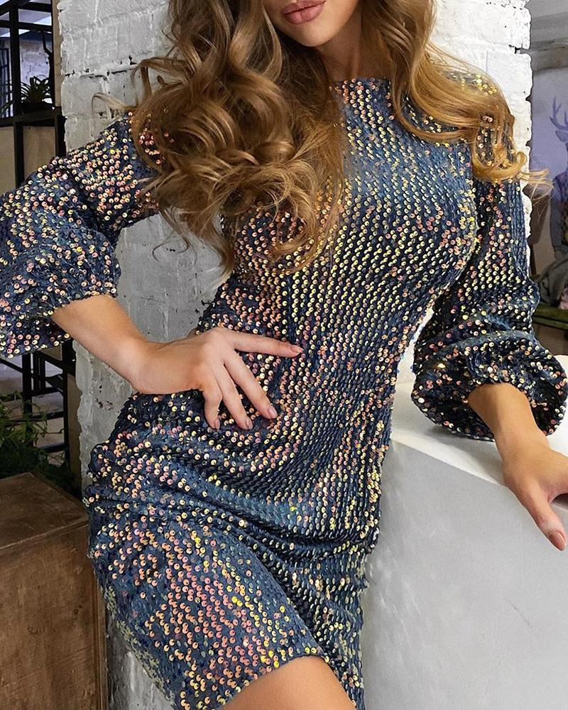 chicme / Glitter Long Sleeve Sequins Dress