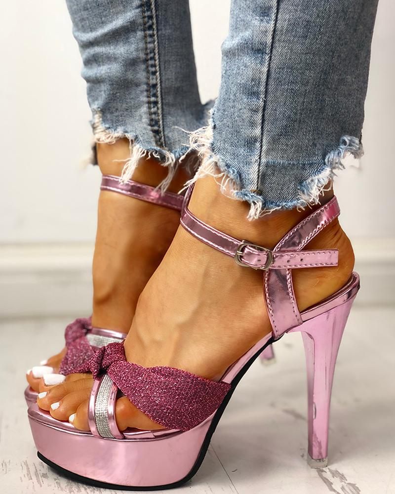 boutiquefeel / Glitter Bandage Crisscross Platform Thin Heeled Sandals