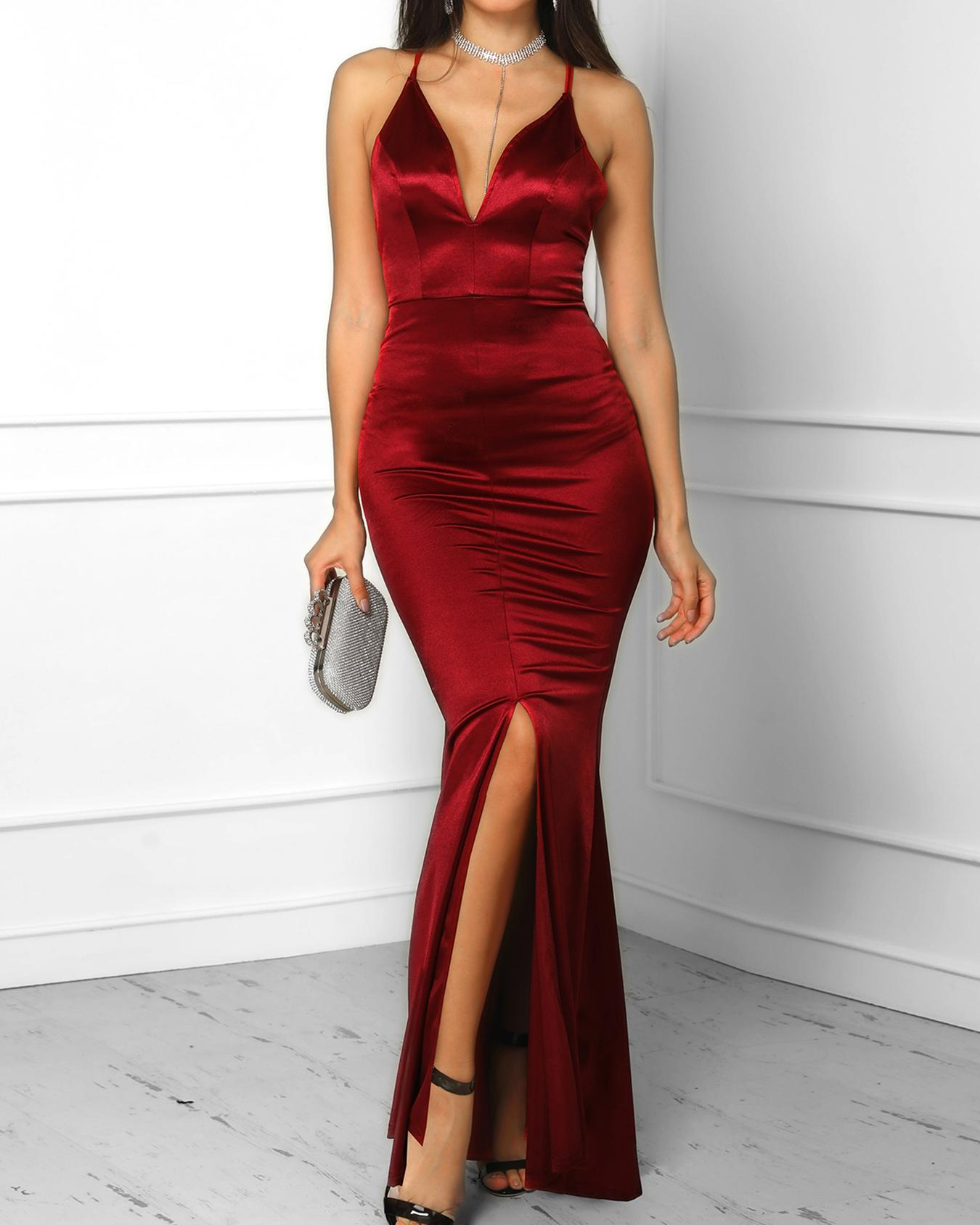 e154c337988 Spaghetti Strap Crisscross Back Slit Maxi Dress