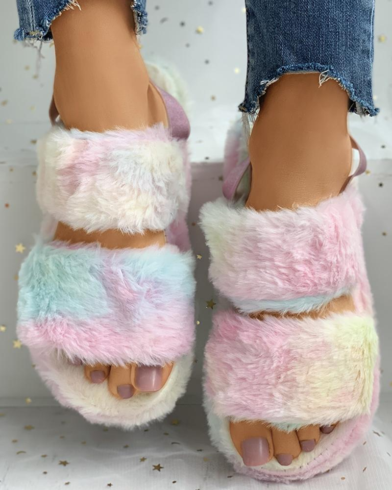 Solid / Cheetah / Colorblock Slingback Fluffy Flat Slipper фото