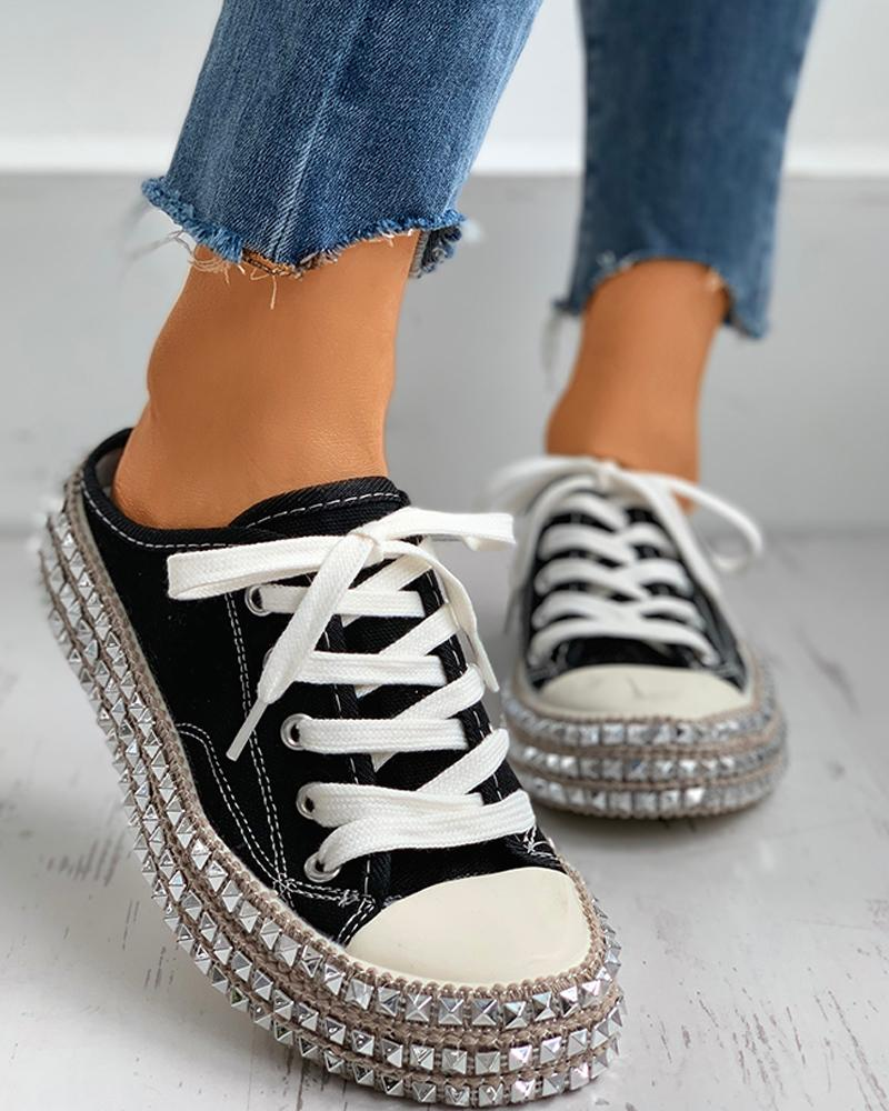 Rivet Eyelet Lace-up Flat Sandals фото