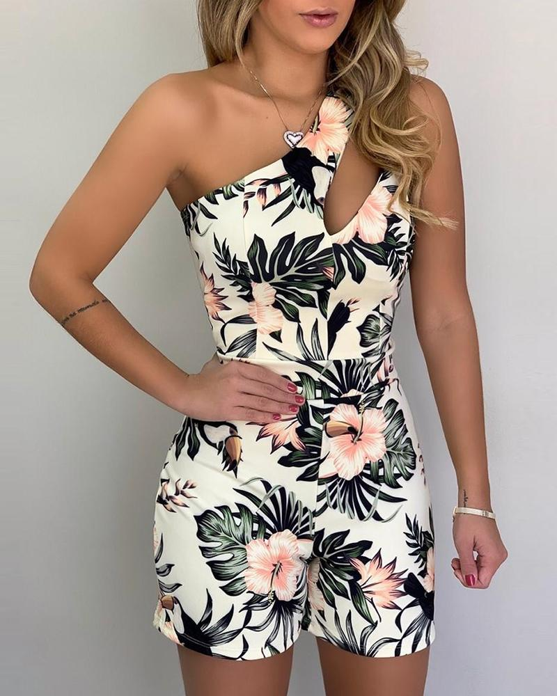 One Shoulder Print Romper фото