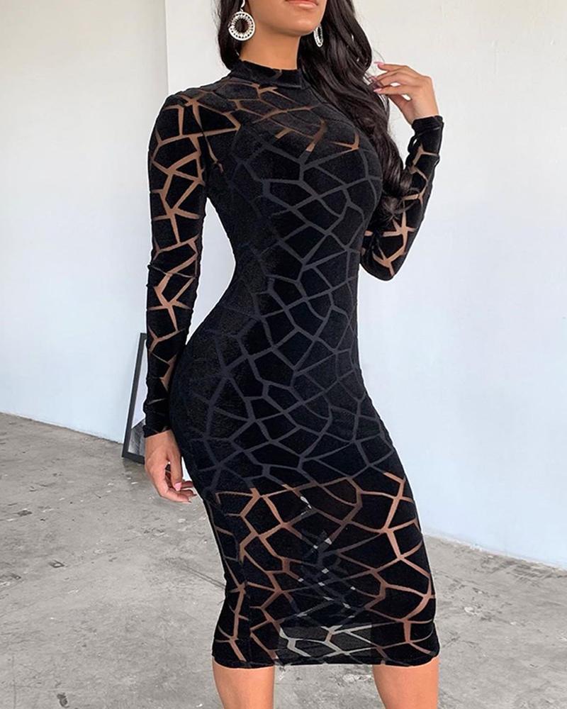 Crack Trim Mesh Midi Dress фото